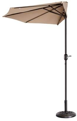 BEIGE Villacera 9' Outdoor Patio Half Umbrella With 5 Ribs