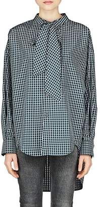 Balenciaga Women's Checked Cotton-Blend Poplin Blouse