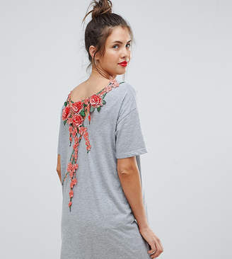 Asos DESIGN Maternity t-shirt dress with rose embroidery