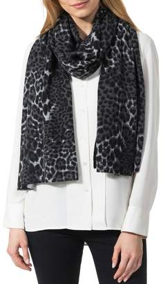 Amicale Cashmere Cheetah Patterned Scarf