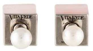 Vita Fede Rose Quartz & Pearl Double-Sided Earrings