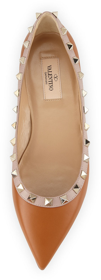 Valentino Rockstud Leather Skimmer Flat, Tan