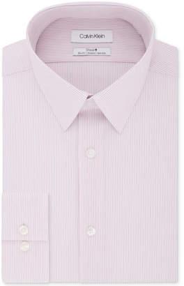 Calvin Klein Men Steel Slim-Fit Non-Iron Performance Stretch Pink Stripe Dress Shirt