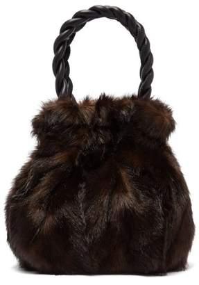 Staud - Grace Faux Fur Trimmed Leather Bag - Womens - Brown