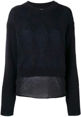 Ballantyne diamond pattern layered jumper