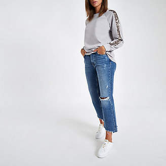 River Island Grey sequin sleeve sweatshirt