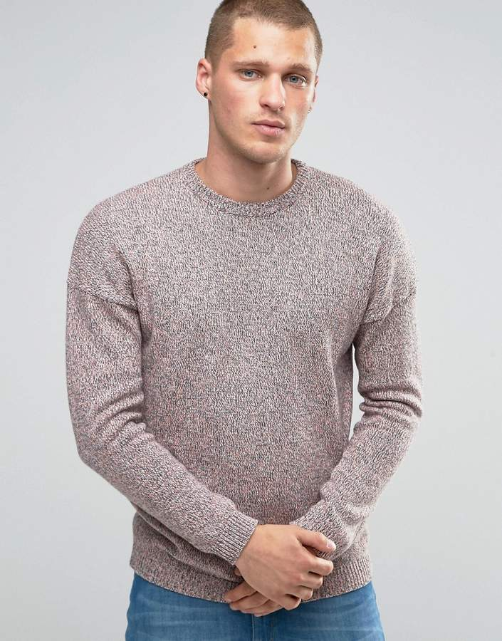 ASOS Oversized Crew Neck Sweater with Dropped Shoulder in Cotton Twist