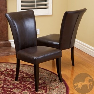 Noble House Becker Brown Leather Dining Chairs (Set of 2)
