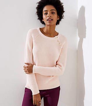 LOFT Button Trim Raglan Sweater