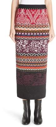 Fuzzi Mixed Fair Isle Midi Skirt