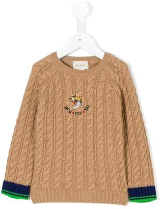 Gucci Kids tiger patch cable knit sweater