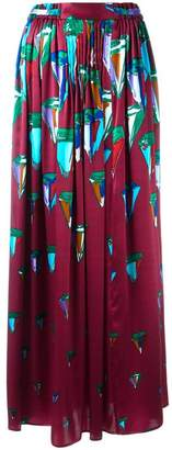 Tsumori Chisato crystal diamond print pleated long skirt