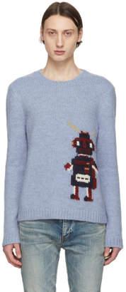 Saint Laurent Blue Jacquard Robot Sweater