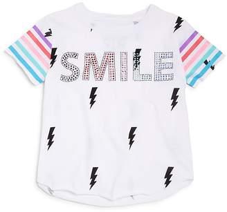 Chaser Girls' Embellished Smile Lightning-Print Tee - Little Kid, Big Kid