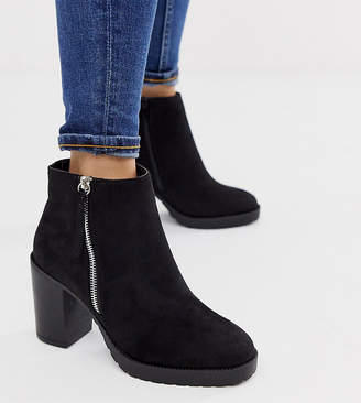 01a9a7a04dc New Look Wide Fit faux suede zip detail heeled boots in black