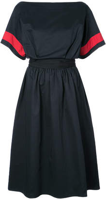 Tome contrast-sleeve flared midi dress