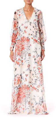 Carolina Herrera Floral Embroidered Chiffon V-Neck Caftan Gown