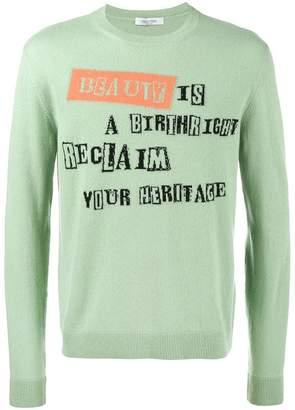 Valentino Jamie Reid slogan intarsia jumper