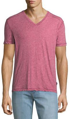 John Varvatos Men's V-Neck Heathered T-Shirt with Stitching Detail