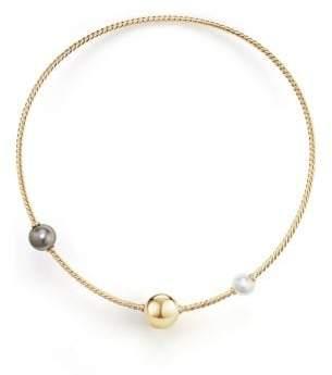 David Yurman Solari Single Row Cable Necklace With Tahitian Grey