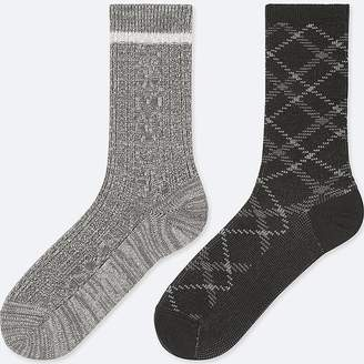 Uniqlo Women's Heattech Cable Socks (2 Pairs)