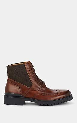 Barneys New York MEN'S LEATHER & WOOL WINGTIP BOOTS