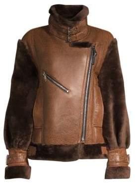 Nicole Benisti Gramercy Sheep Fur-Trim Leather Jacket