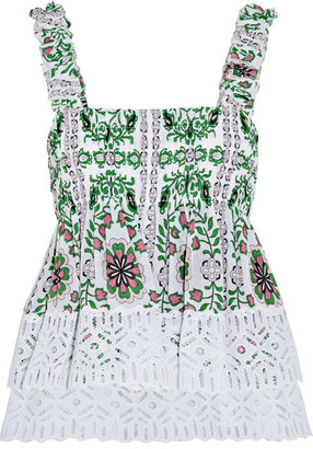 Tory Burch - Shirred Printed Silk-georgette And Broderie Anglaise Cotton Top - Green $395 thestylecure.com
