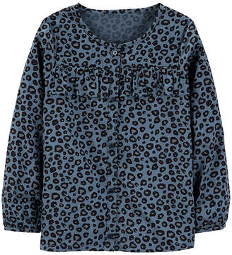 Carter's Psg Blue Cheetah Print Top Graphic T-Shirt-Preschool Girls