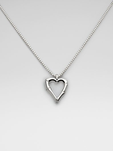 Gucci Sterling Silver Bamboo Heart Necklace