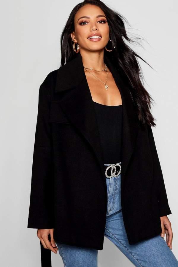 Short Belted Wool Look Coat