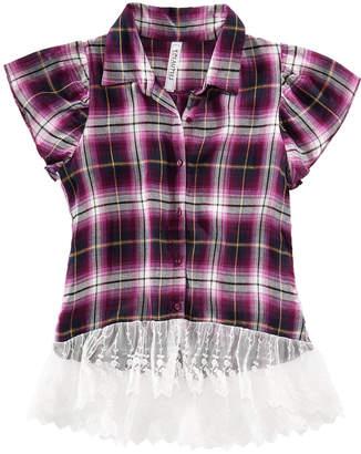 Beautees Big Girls Lace-Trim Plaid Shirt