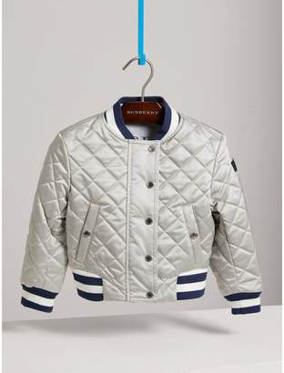 Burberry Stripe Detail Diamond Quilted Satin Bomber Jacket
