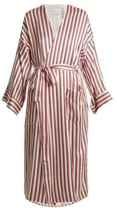 Asceno - Striped Sandwashed Silk Robe - Womens - Red Stripe
