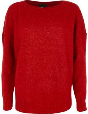 River Island Womens Red asymmetric hem long sleeve sweater