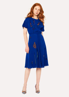 Paul Smith Women's Cobalt Blue Floral Embroidered Silk-Blend Dress