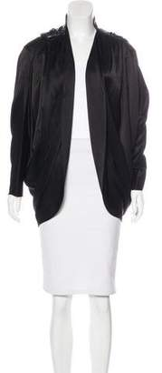 Alexander Wang Leather-Trimmed Satin Jacket w/ Tags