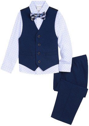 Van Heusen Baby Boy 4 Pc Vest, Patterned Shirt, Pants & Bow Tie Set