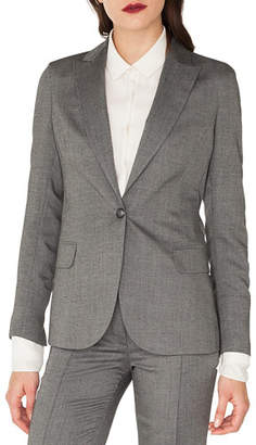 Akris Sammy One-Button Cashmere-Silk Gabardine Blazer