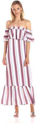 Lucca Couture Women's Stripe Strapless Ruffle Maxi Dress, Multi