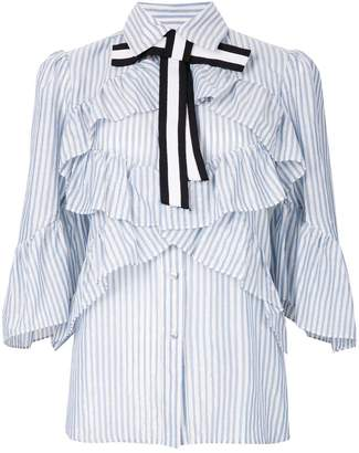 Marco Bologna striped frill trim shirt with bow