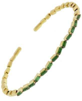 Suzanne Kalan Medium Emerald Baguette Zig Zag Bangle Bracelet - Yellow Gold