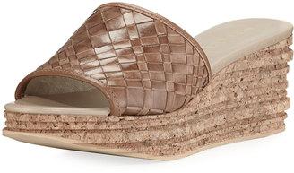 Sesto Meucci Amella Woven Slide Wedge Sandal, Medium Brown $159 thestylecure.com