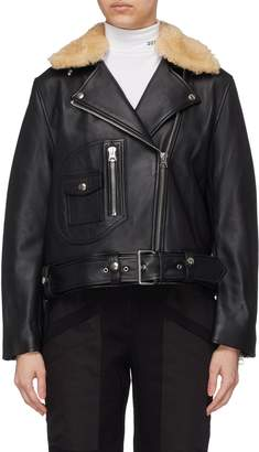 Acne Studios Detachable shearling collar leather biker jacket