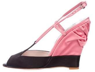 Miu Miu Satin Slingback Wedge Sandals