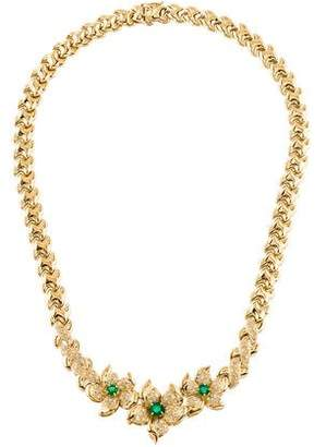 18K Emerald & Diamond Flower Collar Necklace