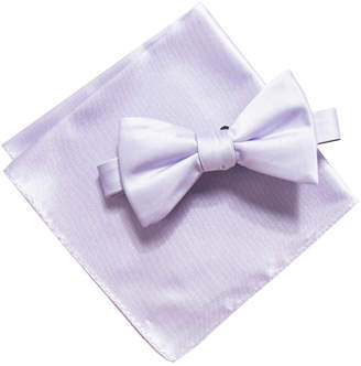 Alfani Men's Satin Solid Bow Tie & Pocket Square Set, Created for Macy's