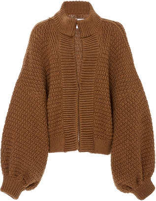 I Love Mr Mittens Maxi Balloon-Sleeve Wool Cardigan Size: M/L