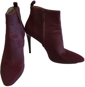 Balenciaga Burgundy Pony-style calfskin Ankle boots