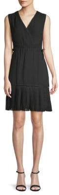 ABS by Allen Schwartz Embroidered Faux Wrap A-Line Dress